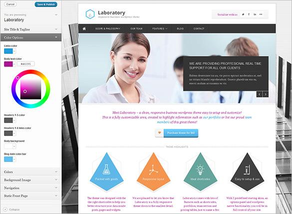 laboratory business wordpress theme