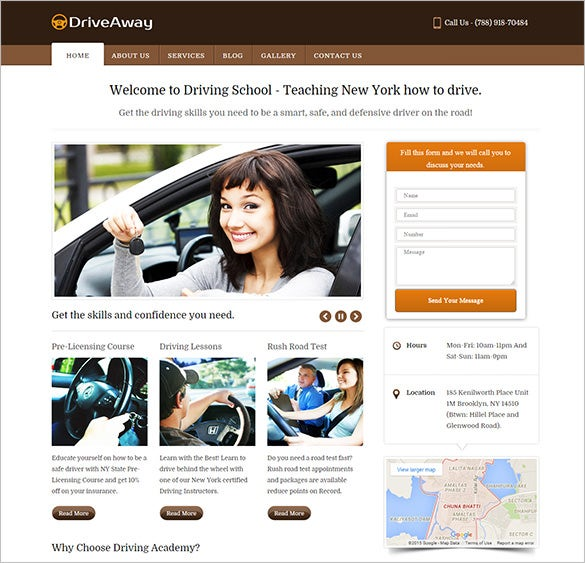 simple driving school wordpress theme