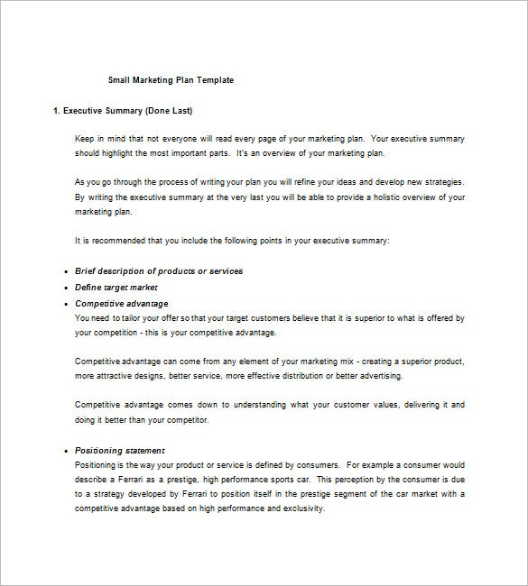 Small Business Marketing Plan Template Free Sample Example - Small business plans template