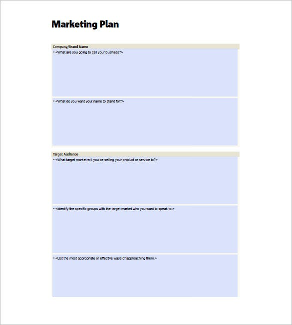 Small Business Marketing Plan Template Free Sample Example - Marketing plan for small business template