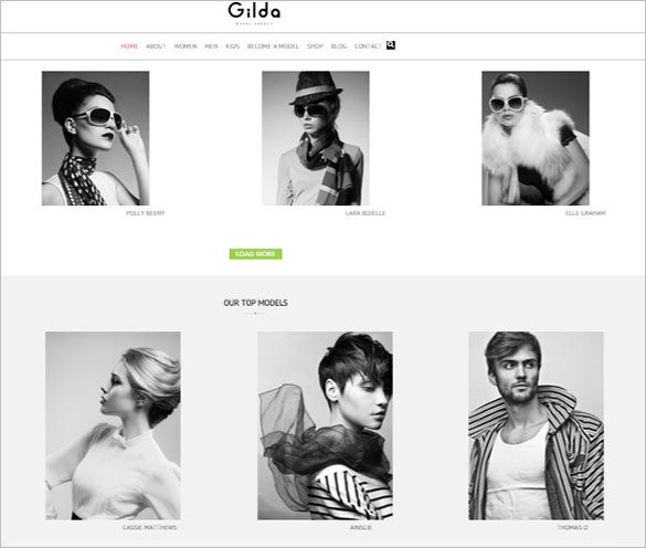 gilda fashion model agency wordpress theme