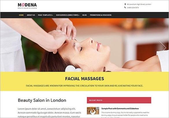 modena massage salon wordpress theme