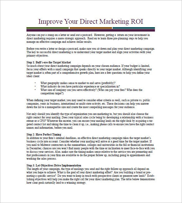 direct marketing campaign plan