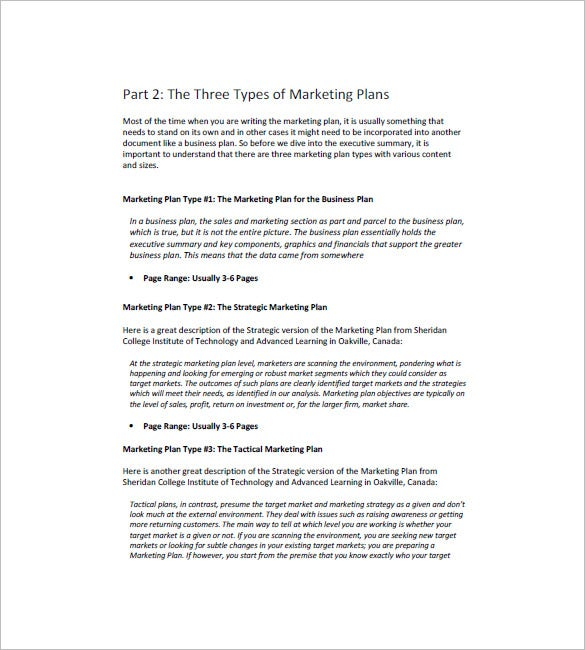 Marketing Plan Template 65 Free Word Excel Pdf Format Download