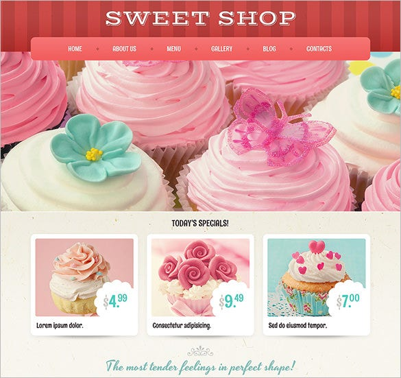 sweets cakes wordpress theme