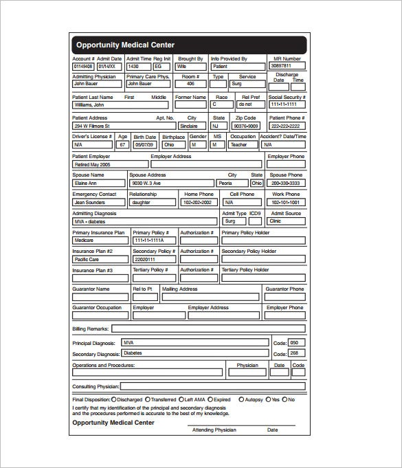 7 medical chart template free word excel pdf format download