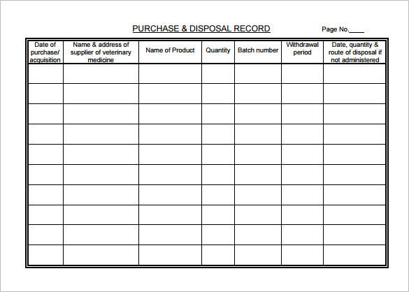 Veterinary Medicine Record Chart Sample PDF Template
