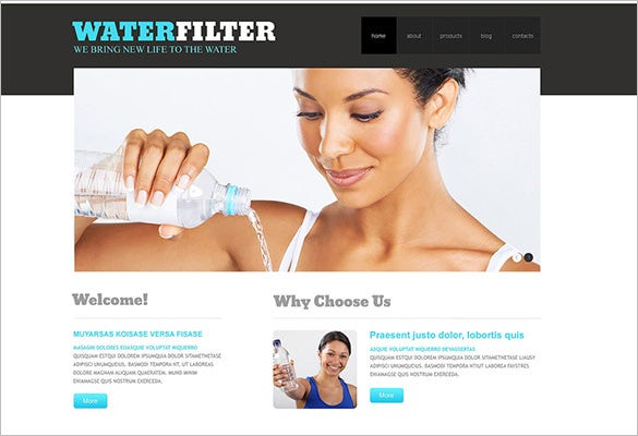 water responsive wordpress template