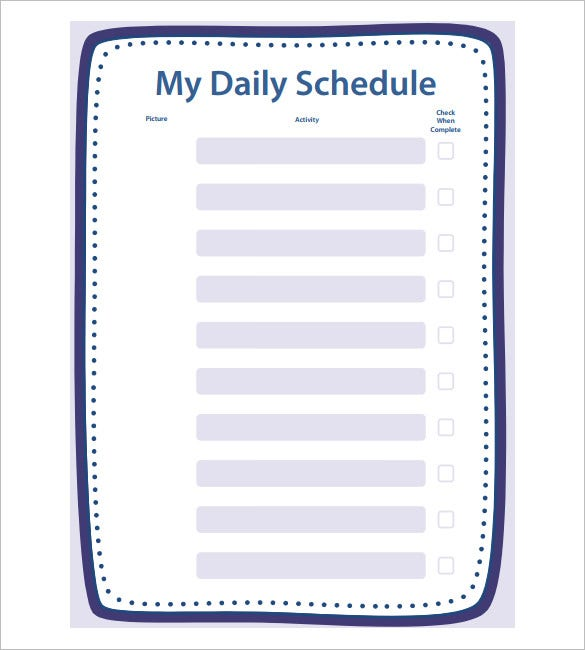 School Schedule Template 10 Free Word Excel PDF Format – Daily Routine Template
