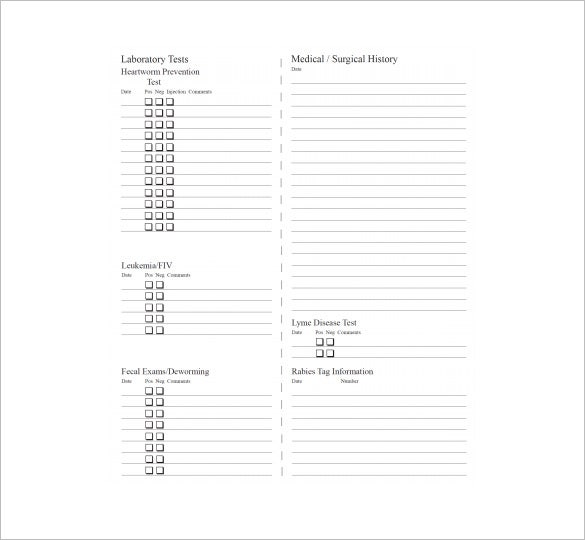 Medical chart template 10 free sample example format for Pet health record template