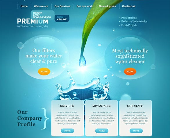 skeuomorphism water wordpress theme