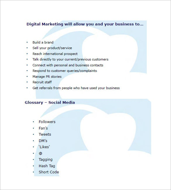 Digital Marketing Plan Template   Free Sample Example Format