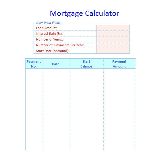 mortgage calculator schedule template free download