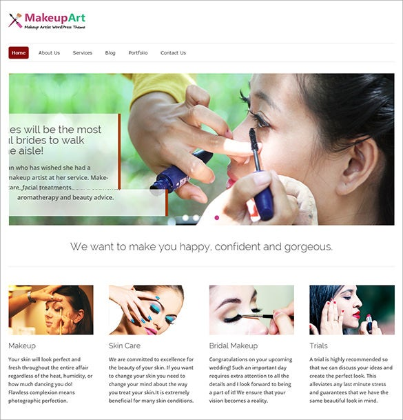excellent makeup artists wordpress theme