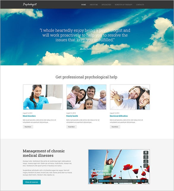 psychologist responsive website wordpress template