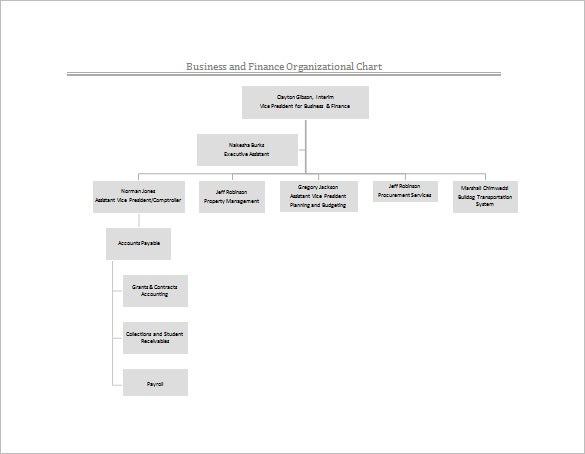 business and finance organizational chart free word template