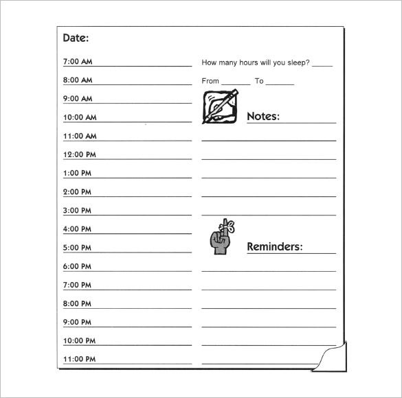 printable daily hourly schedule form download