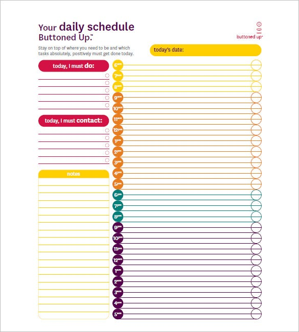 Hourly Schedule Template 10 Free Word Excel PDF Format – Free Daily Calendar Template with Times