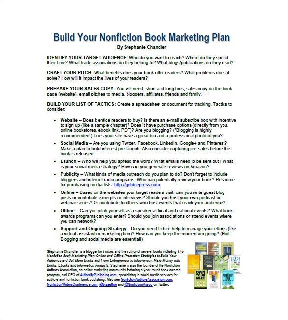 Book Marketing Plan Template   Free Sample Example Format