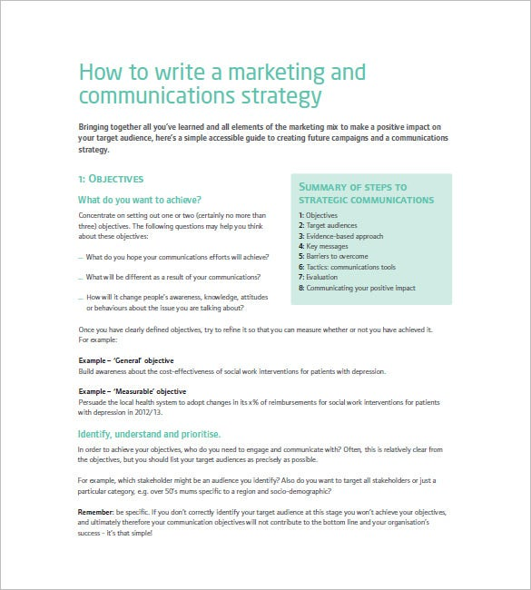 Marketing Communication Plan Template   Free Sample Example