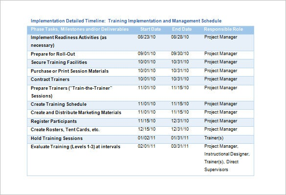 Good Training And Education Implementation Schedule Template