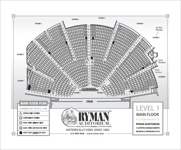 auditorium seating chart free pdf format template