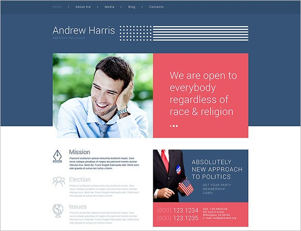 american political candidate wordpress theme