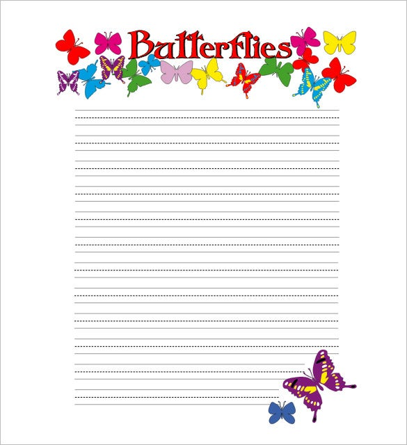 butterflies lined writing paper for kids