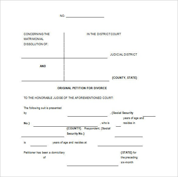 download divorce legal pleadging paper template