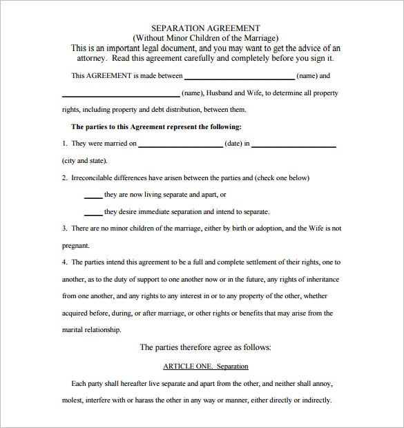 seperation agreement paper template free download