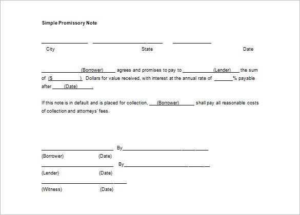 Free Download Simple Promissory Note Template Word  Free Promissory Note Templates