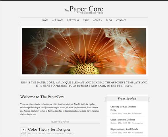 the papercore elegant wordpress theme