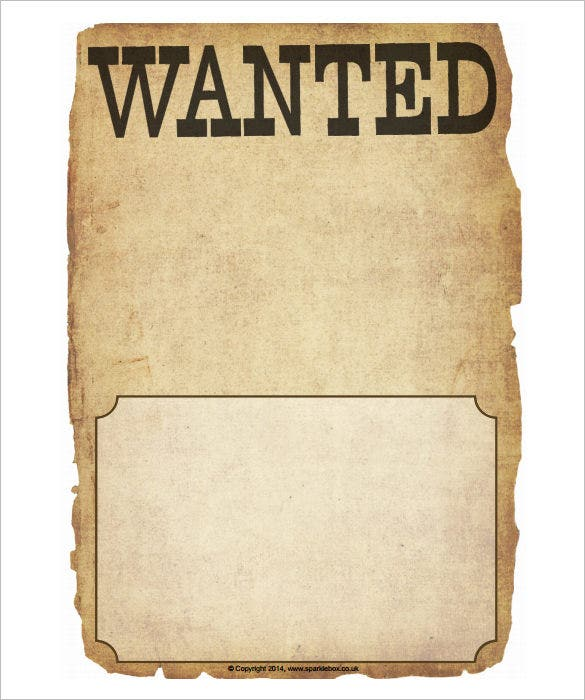 Blank Wanted Poster Writing Frames PDF Format  Free Wanted Poster Template Download