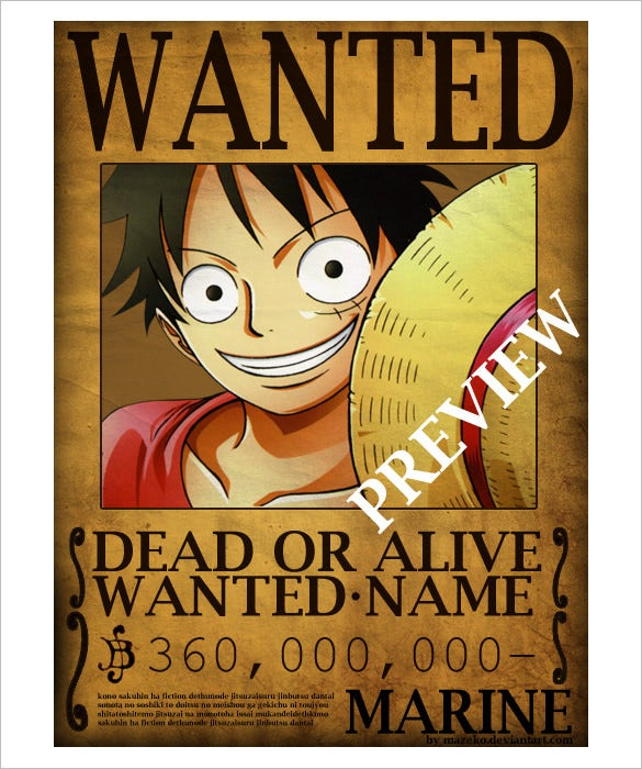 one piece wanted poster psd download