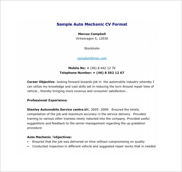 auto technician resume templates mechanic template format download automotive sample philippines