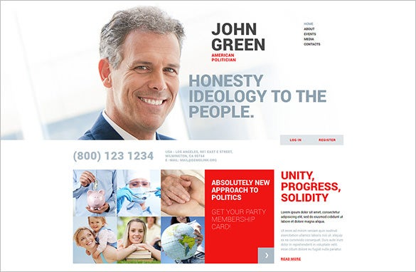 online portfolio for politicians joomla template