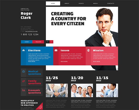 political candidate ready to start joomla template