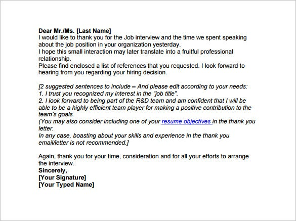 14 Thank You Email After Interview Doc Excel Pdf Free