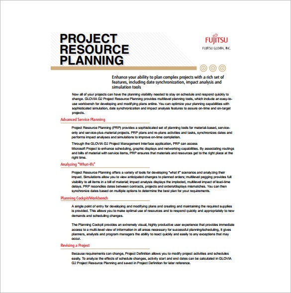 project resource planning free pdf template