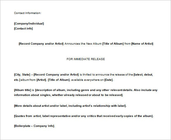 music press release template free word doc