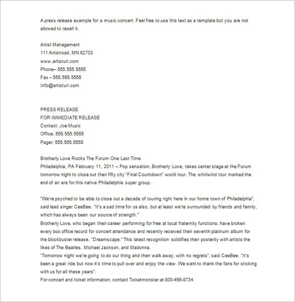Press Release Template   Free Word Excel Pdf Format Download