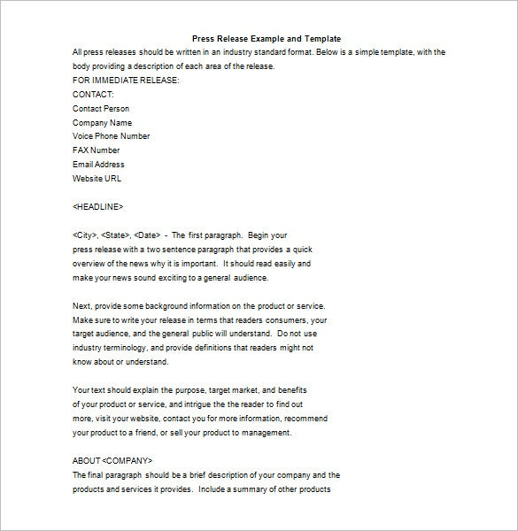 simple press release example and template free