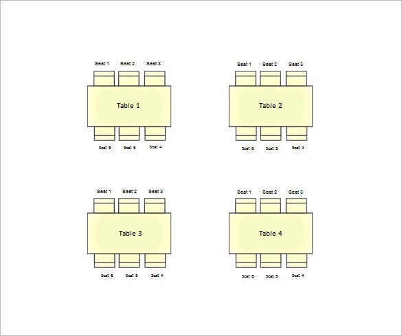 square table seating chart for wedding word format