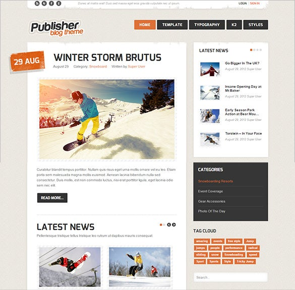 publisher blog joomla theme
