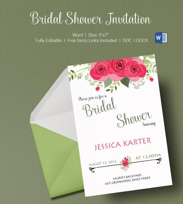 Bridal Wedding Shower Invitation Template