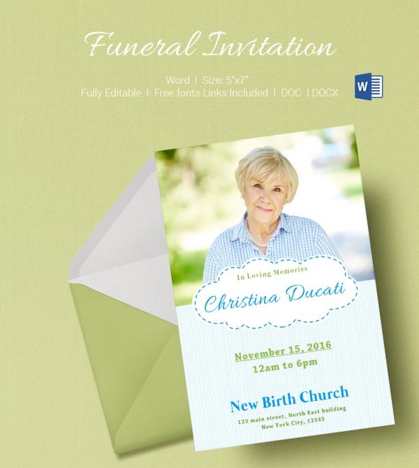 Premium Invitation Template For Funeral Program