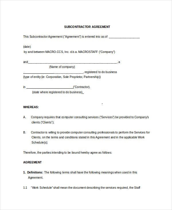 Non compete agreement 11 free word pdf documents for Subcontractors agreement template