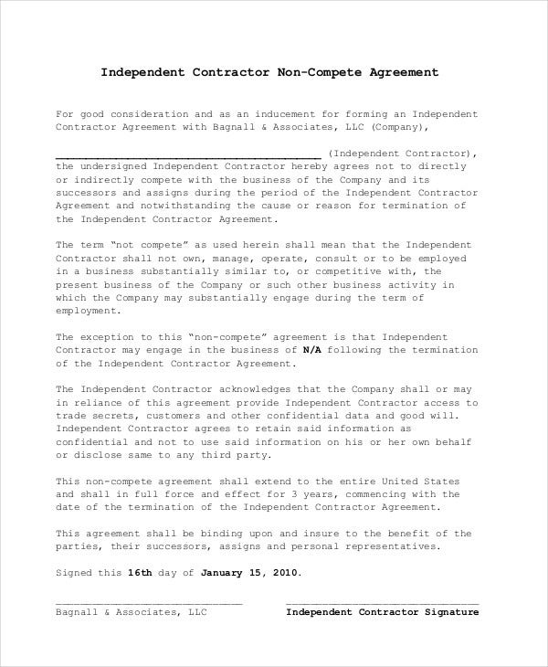 Non Compete Agreement - 11+ Free Word, Pdf Documents Download