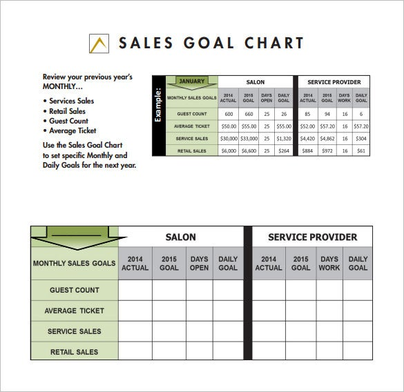 sales goal chart free pdf template download