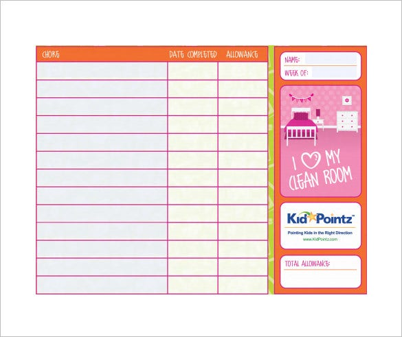 Sample Chore Chart Kidschorecharttemplatechildrendailychorechart